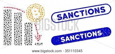 Mosaic Bitcoin Epic Fail Chart And Grunge Stamp Seals With Sanctions Text. Mosaic Vector Bitcoin Epi