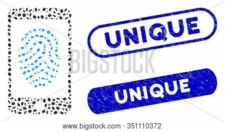 Mosaic Mobile Fingerprint Authorization And Grunge Stamp Seals With Unique Text. Mosaic Vector Mobil