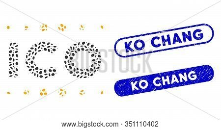Mosaic Ico Caption And Grunge Stamp Seals With Ko Chang Text. Mosaic Vector Ico Caption Is Formed Wi