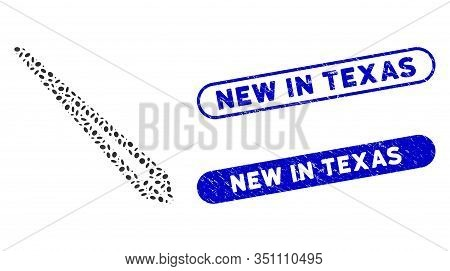 Mosaic Tweezers And Distressed Stamp Seals With New In Texas Phrase. Mosaic Vector Tweezers Is Compo