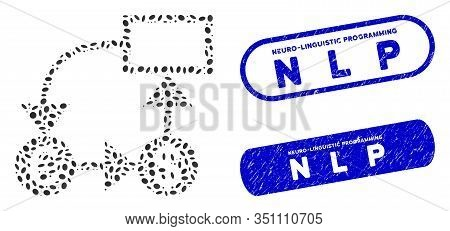 Mosaic Euro And Dollar Flow Chart And Corroded Stamp Seals With Neuro-linguistic Programming N L P C
