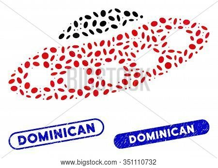 Mosaic Alien Visitors Spaceship And Grunge Stamp Seals With Dominican Caption. Mosaic Vector Alien V
