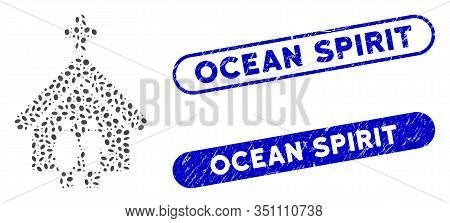 Mosaic Family Church And Grunge Stamp Seals With Ocean Spirit Text. Mosaic Vector Family Church Is C