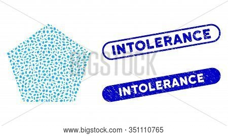 Mosaic Filled Pentagon And Grunge Stamp Seals With Intolerance Phrase. Mosaic Vector Filled Pentagon