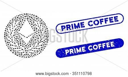 Mosaic Ethereum Laurel Coin And Rubber Stamp Seals With Prime Coffee Caption. Mosaic Vector Ethereum