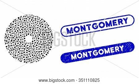 Mosaic Stone Circular Blade And Rubber Stamp Seals With Montgomery Phrase. Mosaic Vector Stone Circu