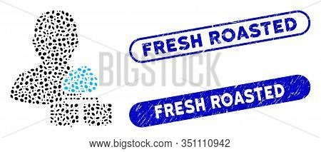 Mosaic Cloud Administrator And Distressed Stamp Seals With Fresh Roasted Caption. Mosaic Vector Clou