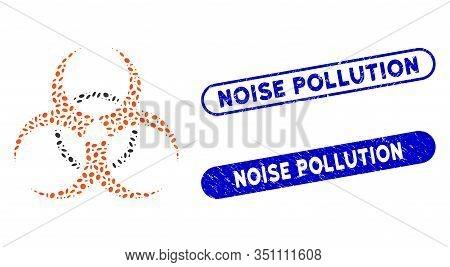 Mosaic Bio Hazard And Rubber Stamp Watermarks With Noise Pollution Phrase. Mosaic Vector Bio Hazard