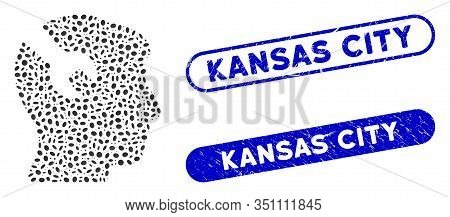 Mosaic Head Surgery Wrench And Corroded Stamp Seals With Kansas City Text. Mosaic Vector Head Surger