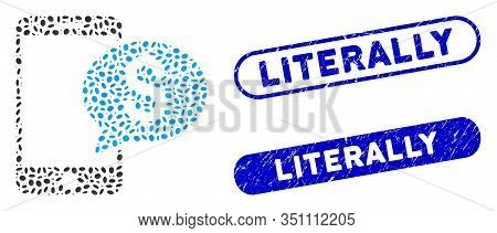 Mosaic Mobile Money Message And Rubber Stamp Seals With Literally Text. Mosaic Vector Mobile Money M