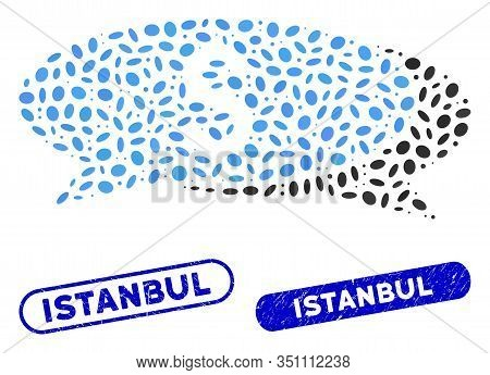 Mosaic Financial Chat And Corroded Stamp Watermarks With Istanbul Phrase. Mosaic Vector Financial Ch