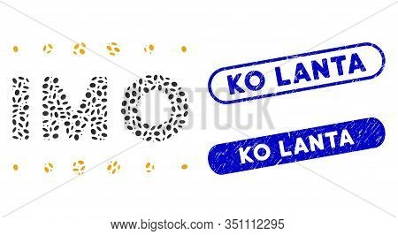 Mosaic Imo Caption And Corroded Stamp Seals With Ko Lanta Phrase. Mosaic Vector Imo Caption Is Desig