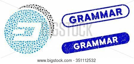 Mosaic Dash Coins And Distressed Stamp Seals With Grammar Text. Mosaic Vector Dash Coins Is Designed