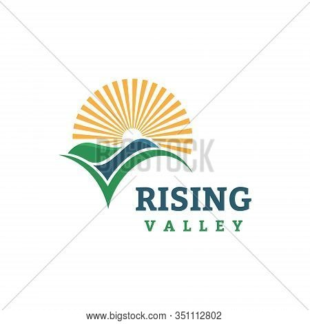 Sun Hill Green Field Valley Sunrise Farm Symbol Logo Template