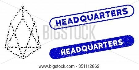 Mosaic Eos Currency And Grunge Stamp Seals With Headquarters Caption. Mosaic Vector Eos Currency Is