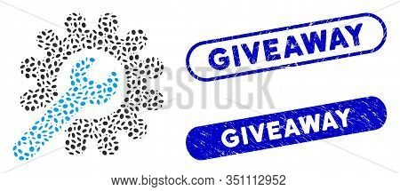 Mosaic Customization Tools And Corroded Stamp Seals With Giveaway Caption. Mosaic Vector Customizati