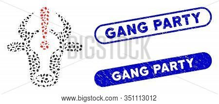 Mosaic Cow Error And Corroded Stamp Seals With Gang Party Phrase. Mosaic Vector Cow Error Is Created