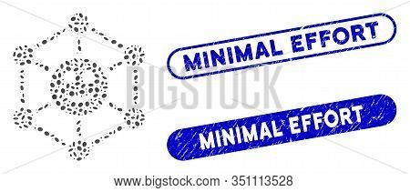 Mosaic Smile Network And Distressed Stamp Seals With Minimal Effort Phrase. Mosaic Vector Smile Netw