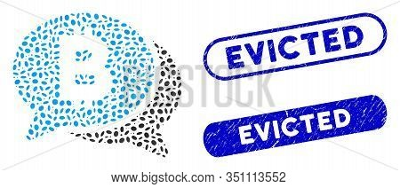 Mosaic Bitcoin Chat And Corroded Stamp Seals With Evicted Text. Mosaic Vector Bitcoin Chat Is Create