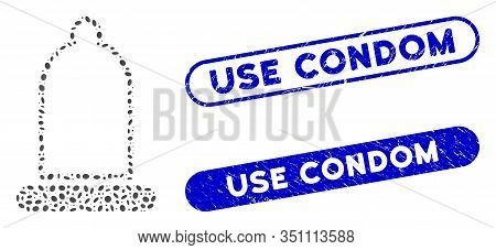 Mosaic Condom And Corroded Stamp Seals With Use Condom Caption. Mosaic Vector Condom Is Composed Wit