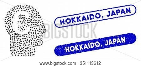Mosaic Euro Banker And Grunge Stamp Seals With Hokkaido, Japan Phrase. Mosaic Vector Euro Banker Is