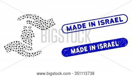 Mosaic People Care Hands And Rubber Stamp Seals With Made In Israel Phrase. Mosaic Vector People Car