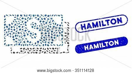 Collage Dollar Banknotes And Grunge Stamp Seals With Hamilton Phrase. Mosaic Vector Dollar Banknotes