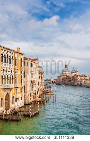 View Of Salute Basilica Baroque Dome And Gran Canal From Accademia Bridge In Venice