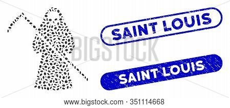 Mosaic Scytheman And Grunge Stamp Seals With Saint Louis Text. Mosaic Vector Scytheman Is Composed W