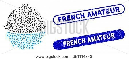 Mosaic Circular Blade Safety And Rubber Stamp Watermarks With French Amateur Text. Mosaic Vector Cir