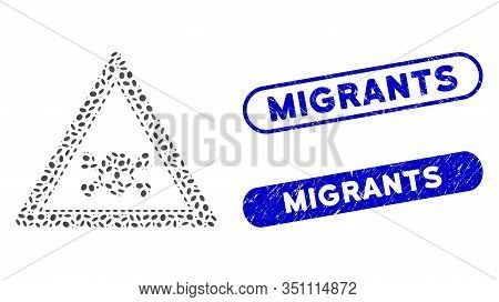 Mosaic Skull Death Triangle And Distressed Stamp Seals With Migrants Text. Mosaic Vector Skull Death