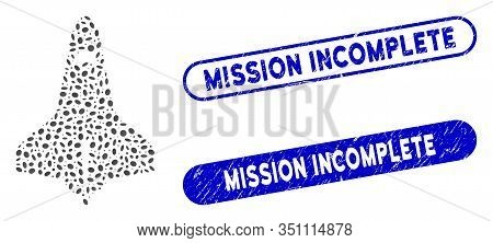 Mosaic Space Shuttle And Corroded Stamp Seals With Mission Incomplete Caption. Mosaic Vector Space S