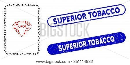 Mosaic Ruby Gambling Card And Rubber Stamp Seals With Superior Tobacco Caption. Mosaic Vector Ruby G