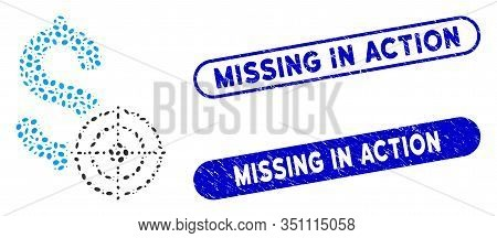 Mosaic Business Target And Rubber Stamp Seals With Missing In Action Caption. Mosaic Vector Business