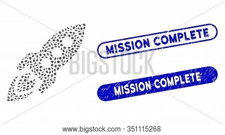 Mosaic Space Rocket And Corroded Stamp Seals With Mission Complete Text. Mosaic Vector Space Rocket