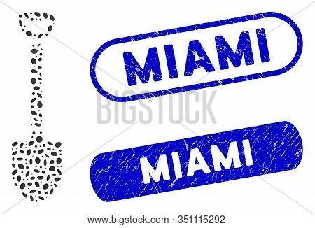 Mosaic Shovel And Distressed Stamp Seals With Miami Phrase. Mosaic Vector Shovel Is Formed With Rand