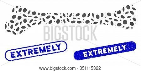 Mosaic Bone And Distressed Stamp Watermarks With Extremely Phrase. Mosaic Vector Bone Is Composed Wi