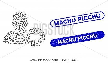 Mosaic Next User And Rubber Stamp Seals With Machu Picchu Phrase. Mosaic Vector Next User Is Compose