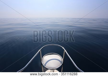 Chair Prow Of A Speedboat,blue Sky And Tranquil Sea In Concept Of Traveling And Holiday Travel.