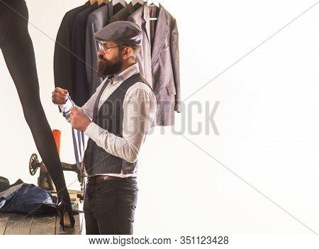 Her Dressmaker Is An Artist. Professional Dressmaker Or Fashion Designer At Work. Bearded Man Dressm