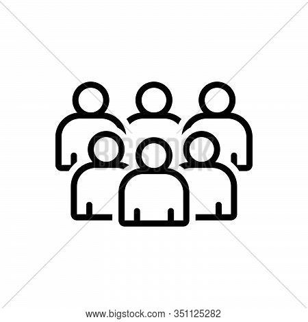 Black Line Icon For Group Cluster Conglomeration Association Crowd Organization Troop
