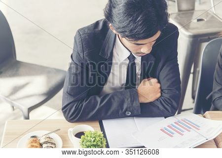 Stress Young Businessman Being Serious Busy Failure Jobs Can't Work Under Pressure Or Stress Situati