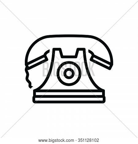 Black Line Icon For Telephone Communication Phone Ancient Pristine Contact Contactus