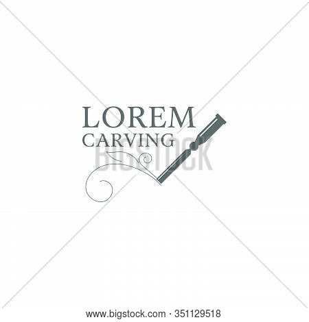 Woodcarving Logotype Illustration.  Woodcarving Logotype Illustration With Hand Holding The Chisel A