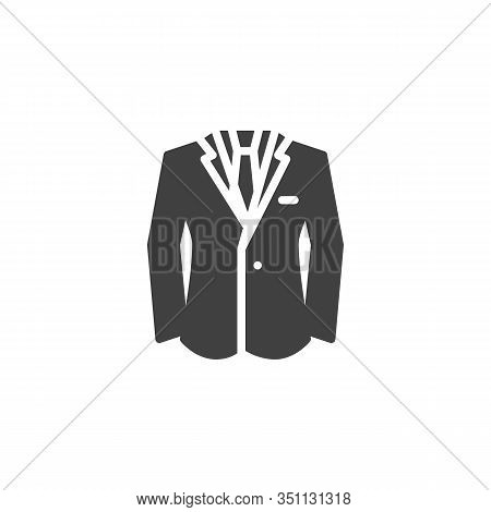 Business Suit Jacket Vector Icon. Filled Flat Sign For Mobile Concept And Web Design. Mens Jacket Wi