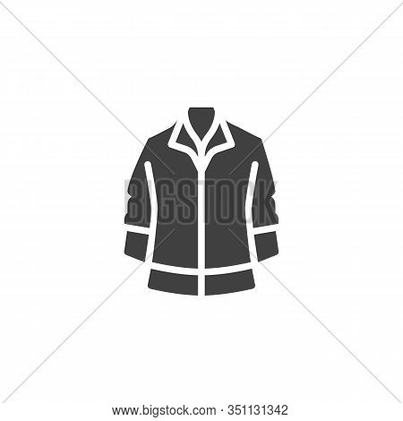 Mens Jacket Vector Icon. Filled Flat Sign For Mobile Concept And Web Design. Long Sleeve Jacket Glyp
