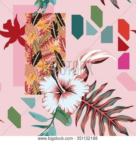 Abstract Summer Floral Hand Painted Composition Multicolor Exotic Tropical Leaves And Hibiscus Flowe