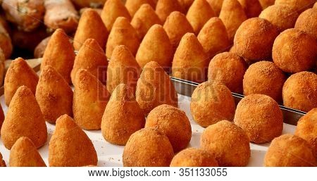 Many Stuffed Balls Rice Is A Typical Dish Of Italy Called Arancini In Italian Language For Sale At M