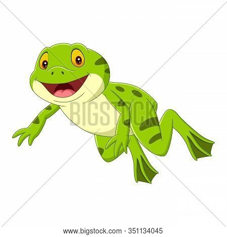 Vector Illustration Of Cartoon Happy Green Frog Jumping