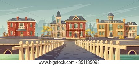 Bridge Over Rivet And Promenade In Old European Town. Vector Cartoon Cityscape With Old Lake Quay, E